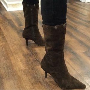 Ann Marino Adjustable Height Heeled Boots Brown